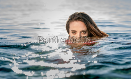 portrait of young woman in swimming