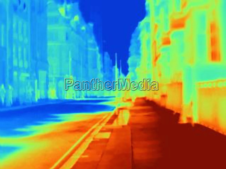 thermal image of city street