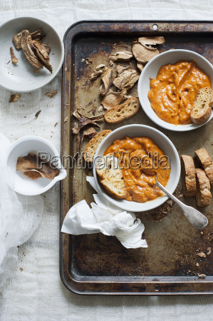pumpkin soup with dried mushrooms and