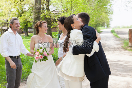 couple hugging at wedding party