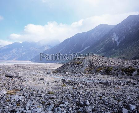rocks on rural valley floor