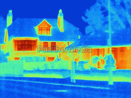 thermal image of houses on city