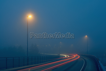 diminishing perspective of light trails on