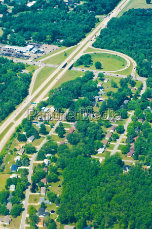 aerial view of houses and roads