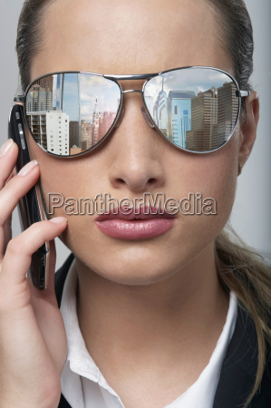 business woman with sunglasses on