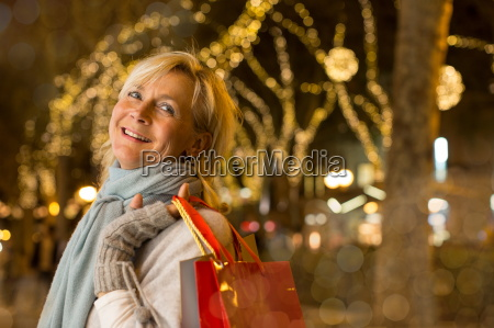 portrait of mature woman with xmas
