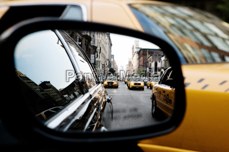 taxi wing mirror new york city