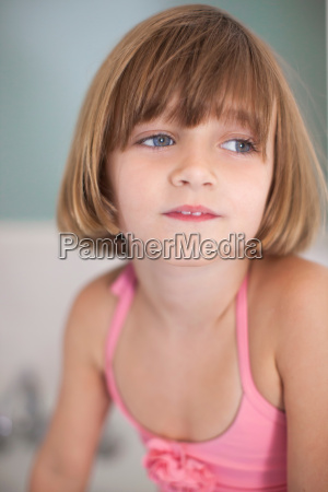 girl with brown bobbed hair portrait