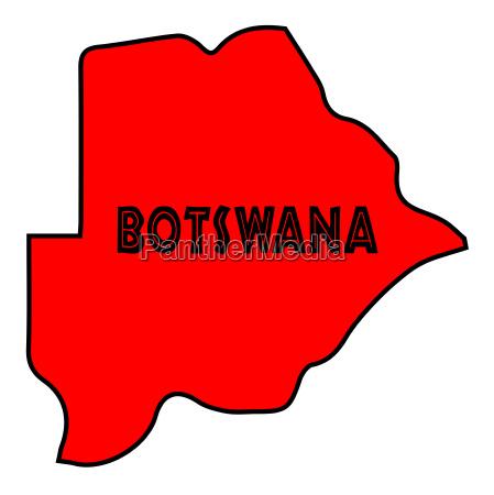botswana silhouette karte