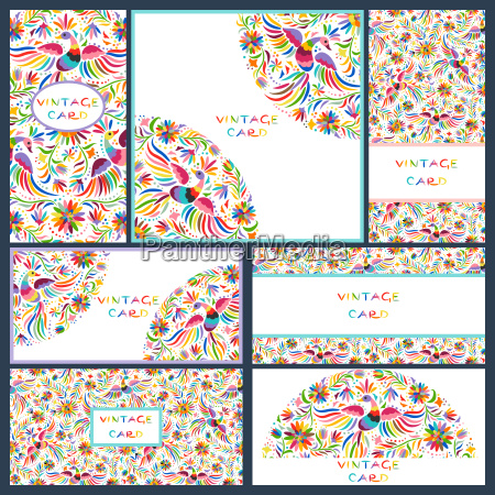 set visitenkarten mit floral mexikanischen muster