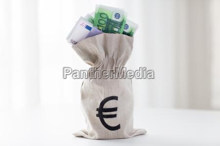 close up of euro paper money