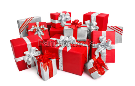 elegant gift boxes in red and