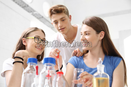 school chemistry lesson in the laboratory