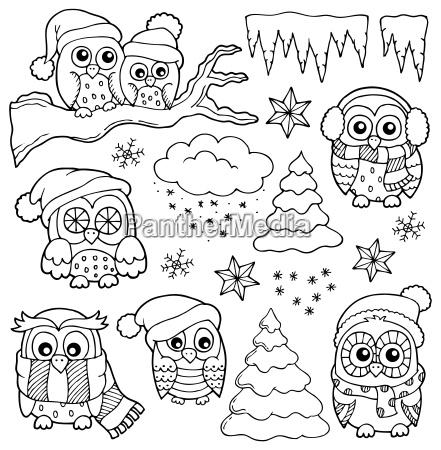 winter owl drawings theme 1