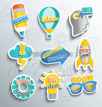set of paper icons for business