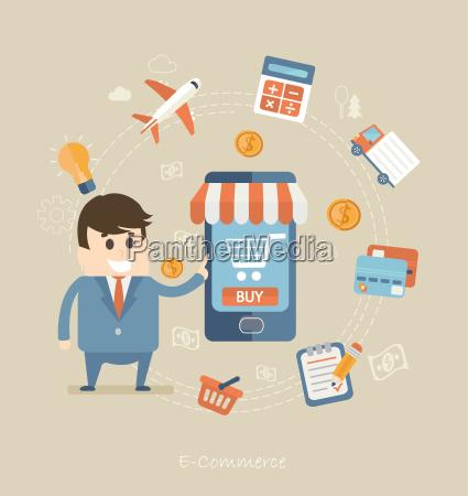 flaches design konzept von e commerce