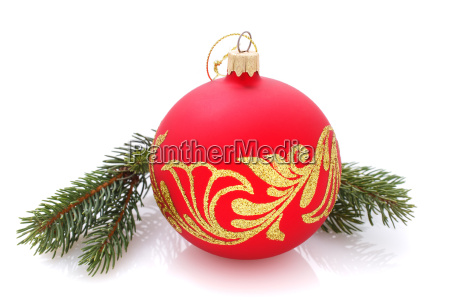 christmas ball with golden ornament isolated