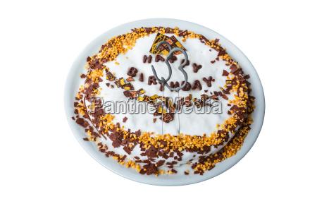 geburtstagskuchen mit zuckerguss krokant und schokolade