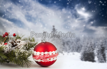 winter background with christmas decorations