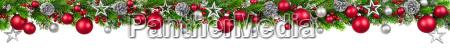weihnachten borduere rot und silber geschmueckte