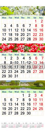 kalender fuer april juni 2017