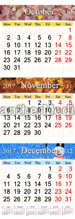 kalender fuer oktober november und dezember