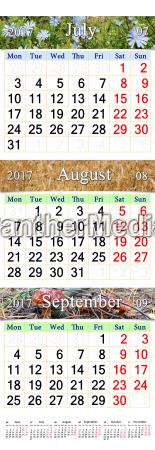 kalender fuer juli august september 2017