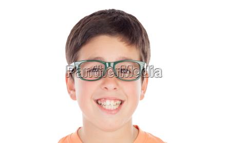 funny teenage boy of thirteen looking
