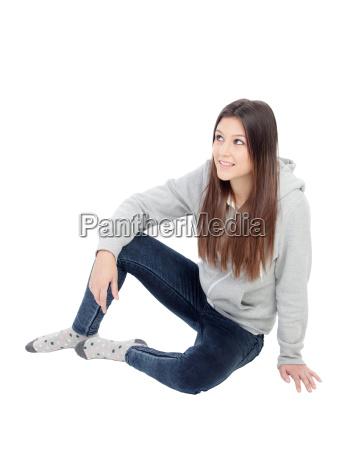 happy girl with grey sweatshirt