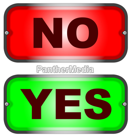 rot und gruen ja nein zeichen