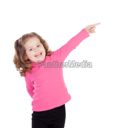 little girl in pink indicating something