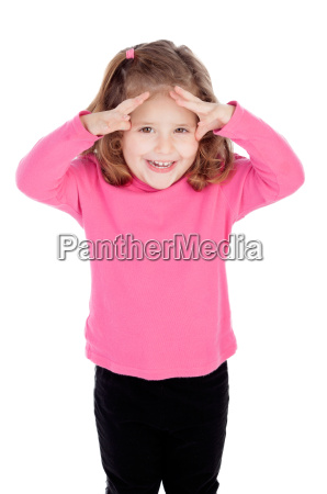 surprised little girl in pink