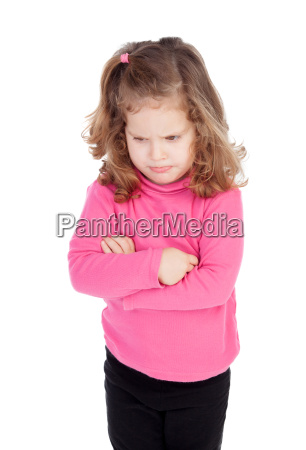 angry little girl in pink