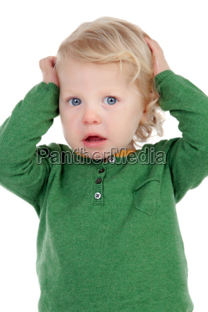 cute baby worried isolated