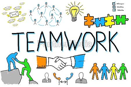 illustratives diagramm des teamwork konzeptes