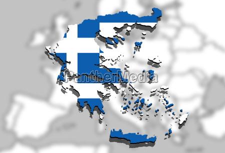nahaufnahme auf griechenland karte auf europa