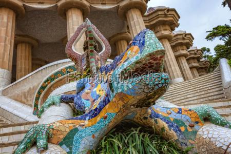 dragon salamandra of gaudi mosaic in