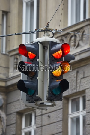 traffic lights in a town