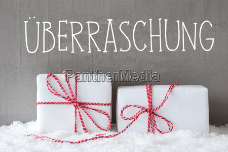 two gifts with snow ueberraschung means