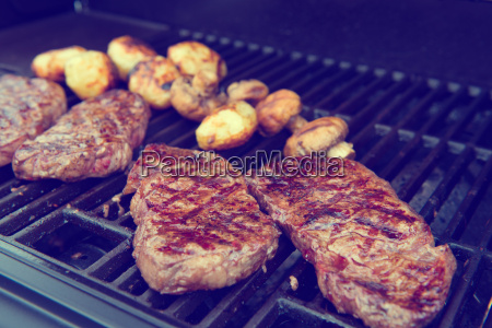 grilled rump steak on barbecue