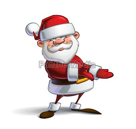 happy santa showing