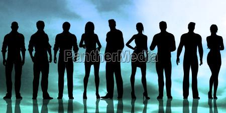 silhouette von geschaeftsleuten die arbeiten