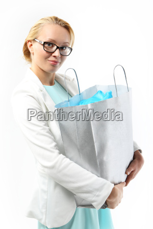 successful shopping woman with a