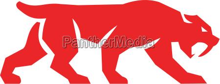 saebel zahn tiger katze silhouette retro