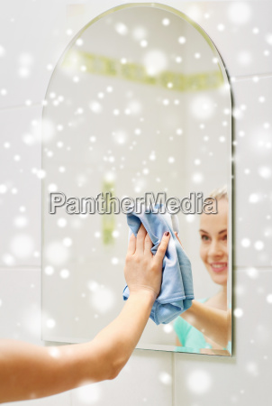 close up of happy woman cleaning