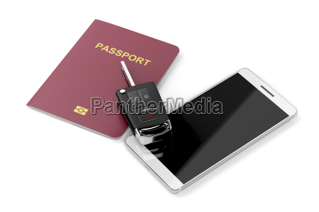 smartphone reisepass und autoschluessel