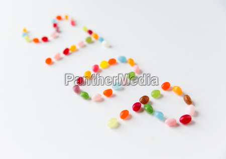 close up of jelly beans candies