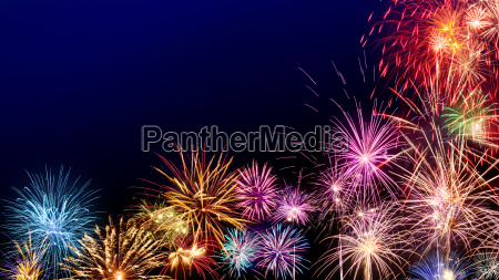 atmospheric fireworks with copy space on