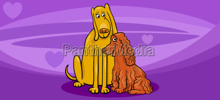 valentine card with dog couple
