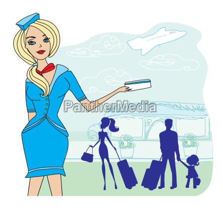 schoene stewardess mit ticket